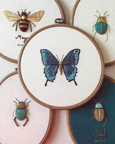 To embroider: Embroidery artist Humayrah Bint Altaf stitches fabulously ornate insects and trees that incorporate antique gold twist cord, hundreds of metallic beads, Rococo threads, and other delicate materials… Hand Embroidery Stitches, Embroidery Hoop Art, Hand Embroidery Designs, Beaded Embroidery, Cross Stitch Embroidery, Embroidery Ideas, Hand Stitching, Butterfly Embroidery, Beginner Embroidery