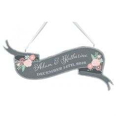Display your love for all to see with this personalized wedding sign. Pretty, rustic, and elegant, this stylish sign looks beautiful when hung at your shabby chic, vintage, or woodland themed event.