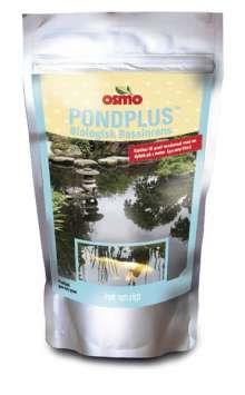 PondPlus® Biologisk bassinrens og bassinstarter , PondPlus® Biologisk bassinrens og bassinstarter , PondPlus® er et naturligt, ugiftigt, mikrobiologisk produkt udviklet til at nedbryde rester af fiskefoder, fiskeekskrementer og andet organisk materiale i vand. Forsøg bekræfter, at produktet reducerer både skidt og bundslam så bunden bliver ren. Vandet bliver mere klart, får bedre farve og får god balance i sammensætningen af plankton og gavnlige mikroorganismer. Dosering: - ved forebyggelse…