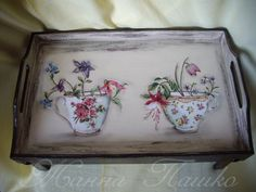 Decoupage Furniture, Shabby Chic Crafts, Old Boxes, Decoupage Vintage, Altered Boxes, Vintage Wood, Painting On Wood, Diy Art, Trays