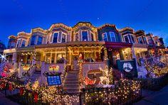 Baltimore Row Houses Christmas Lights On Baltimore Row Houses Best Christmas Light Best Christmas Light Displays Best Christmas Lights Christmas House Lights