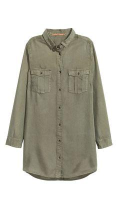 H&M lange Bluse khakigrün