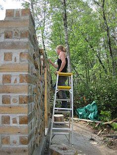 Built up corners in cordwood