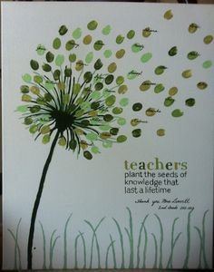 060414 airborne dandelion seeds ~ We LOVE this teacher gift idea with floating thumbprint seeds!