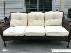 How to remove mildew stains from outdoor cushions in one afternoon and completely bring them back to life in just a few steps! Outside Cushions, Patio Cushions, White Cushions, Remove Mold Stains, Mildew Stains, Mold Removal Cost, Outdoor Couch, Outdoor Furniture