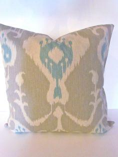 IKAT PILLOW  COVER  Tan Blue 20x20 Throw Pillows 20 x 20 Khaki Aqua Ikat  Throw Pillow Cover. $23.95, via Etsy.