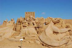 Beautiful sculptures in sand, wood, stone, living willow etc. in Blokhus Sculpturepark, Denmark
