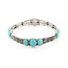 Gamiss - Gamiss Faux Turquoise Flower Gypsy Bracelet - AdoreWe.com