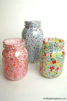 Spring Fabric Mason Jars - Spring Mason Jar Crafts