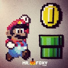 Mario, Coin & Pipe perler beads by Mr. Foxy Store