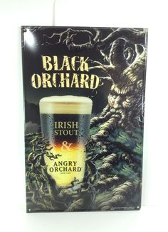 Angry Orchard Hard Cider Beer Sign Irish Stout Black Orchard New!! 17 X 11 #cjbeez #taphandle #breweriana #beer