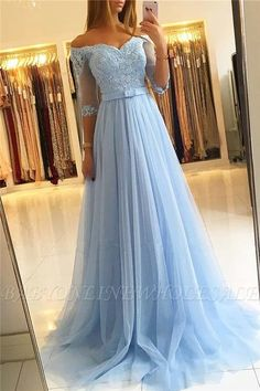 A-Line Off-the-Shoulder Lace Tulle Long Prom Dresses Formal Evening Gowns 601815 Evening Dresses With Sleeves, Formal Evening Dresses, Evening Gowns, Dress Formal, Evening Party, Cheap Prom Dresses, Homecoming Dresses, Tulle Lace, Wedding Party Dresses