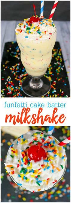 Funfetti Cake Batter Milkshake - Lil' Luna - - An amazing milkshake that tastes just like it came from the soda shop! This awesome Funfetti Cake Batter Milkshake is super easy to make, and is perfect for enjoying on a hot summer day! Köstliche Desserts, Delicious Desserts, Dessert Recipes, Yummy Food, Tasty, Recipes Dinner, Lunch Recipes, Drink Recipes, Healthy Recipes