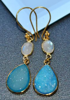 Rainbow Moonstone June Birthstone Druzy Drop Earrings - Druzy Earrings - Moonstone Jewelry. $85.00, via Etsy.