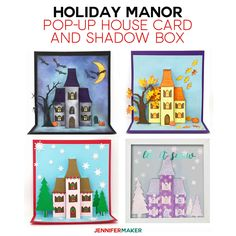 Make a Pop-Up House Card Holiday Manor for Halloween, Autumn, or Christmas! Diy Wedding Invitations Templates, Card Templates, Halloween House, Halloween Christmas, Halloween Ideas, Christmas Cards, Paper Butterflies, Paper Flowers, Art Plastique Halloween