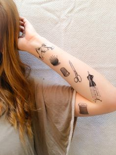 6 Sewing Temporary Tattoos SmashTat van SmashTat op Etsy                                                                                                                                                                                 Mais