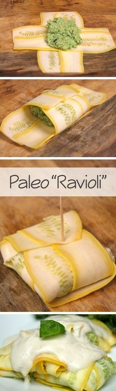 "Paleo ""Ravioli"" - made these both with white sauce and with red sauce. I personally prefer them with a homemade sauce made with crushed tomatoes, garlic, onion and basil.:"