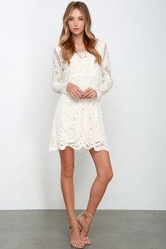 Black Swan Heidi Dress - Cream Dress - Lace Dress - Embroidered Dress - $103.00