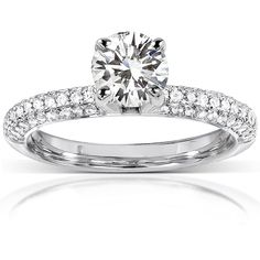 Annello by Kobelli 14k Gold 1 1/4ct TGW Round Forever One DEF Moissanite and Diamond Micro Pave Engagement Ring