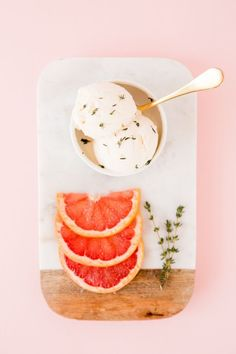 Grapefruit vanilla thyme ice cream