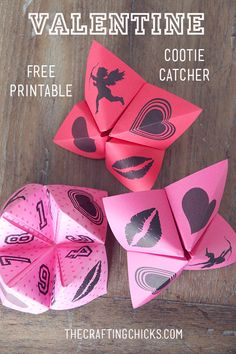 "Valentine Cootie Catchers & Free Printable. A fun game for kids to play with friends for Valentine's, or anytime. Just print on cute ""valentine"" paper."