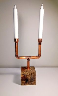 Copper pipe & pallet block candelabra | Upcycled pallet wood block, wax finished and 15mm copper pipe candelabra with 2 candle holders | Candles not included, display only) £22.95 + delivery | Upcycled Candelabra | #UpcycledCandelabra
