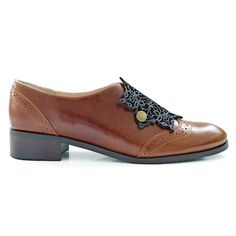Dinah Persian inspiration derby shoes made from natural leather. Decorated with embroidered oriental textiles and embellished with laser-cut patterns. Laser Cut Patterns, Derby Shoes, Natural Leather, Oxford Shoes, Flats, Boutique, Handmade, Accessories, Collection