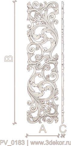 PV_0183. Панель вертикальная из дерева. Резные изделия, готовые/на заказ. Wood Carving Designs, Wood Carving Patterns, Stencil Designs, Border Design, Pattern Design, Baroque Frame, Stencils, Leather Tooling Patterns, Ornament Drawing