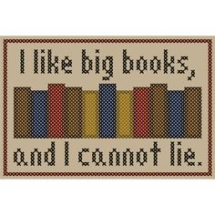 I LIKE BIG BOOKS Cross Stitch Chart. $3.50, via Etsy.