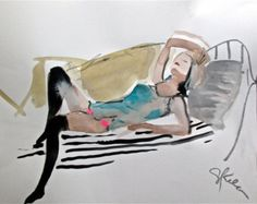 11x 15 watercolor, gouache + graphite  Ive been painting Boudoir portraits for years and I am listing them for the first time on my Etsy shop. My friends pose in vintage lingerie and their personal collections for these intimate poses during 3 hours sessions. I give them one of the paintings as payment for services rendered and I am making the other paintings available for sale in my new Boudoir Sessions section. This kind of genre is perfect for Valentines Day gifts and bridal gifts for the…
