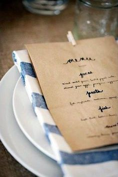 Lovely brown paper bag menu cards. See the entire wedding write up  Blue Farm Wedding's blog.