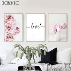 Canvas Painting Nordic Decor Pink Peony Flower Poster and Print Love Wall Art Floral Picture Bedroom Decor Home Decoration Living Room Pictures, Wall Art Pictures, Art Mural Floral, Art Floral, Art Mural Amour, Reproductions Murales, Images Murales, Love Wall Art, Pink Peonies