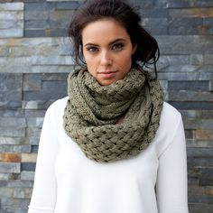 Khaki snood scarf - via DTLL.