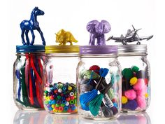 Corral and organize small odds and ends with this cute Mason jar craft, made in just three kid-friendly steps.