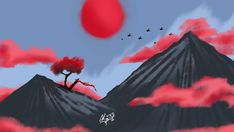 Red   #digitalart #digitalpainting #digital_art #digital #art #artwork #drawing #digitaldrawing #mountains #red #redclouds #fallenwarrior…