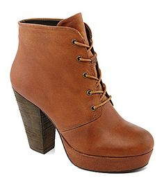 Steve Madden Raspy Bootie in cognac lea. Details: Sizing: True to size. - Round toe - Lace-up vamp - Block heel - Approx. heel, platform - Imported Materials: Manmade upper and sole SOLD OUT Steve Madden Shoes Lace Up Boots Lace Booties, Leather Booties, Lace Up Boots, Ankle Booties, Bootie Boots, Shoe Boots, Women's Boots, Fall Boots, High Boots