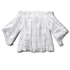 Abercrombie & Fitch Embroidered Off-the-Shoulder Peasant Blouse (41 CAD) ❤ liked on Polyvore featuring tops, blouses, white, peasant blouse, bell sleeve blouse, white off shoulder blouse, embroidered peasant top and white embroidered blouse