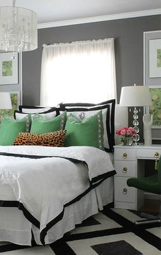 stunning bedroom makeover in green, black, white, gray with pops of pink and animal features- leopard and alligator skin