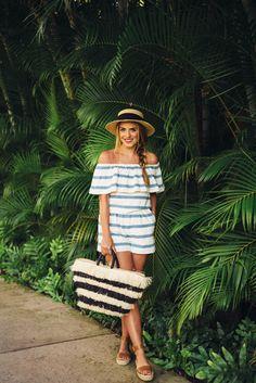 Gal Meets Glam Beach Stripes - Mara Hoffman top and shorts, Eugenia Kim hat, Kayu bag, Soludo sandals