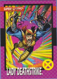 Lady Deathstrike - 1992 Marvel Trading Cards by Jim Lee (Impel) Marvel Comics Art, Marvel X, Fun Comics, Xmen, Tarot, Lady Deathstrike, Jim Lee Art, Female Comic Characters, Comic Art
