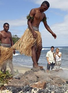 Fijian fire-walking is legendary and has remained a mystery as to why the people of Beqa Island's Sawau tribe were given the power to walk on white hot stones without injury. This gift is still practiced today and has become a major tourist attraction and income earner for the Sawau tribe of Beqa. | Fiji Islands Culture + Travel Tips