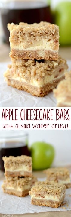 Apple Cheesecake Bars with Nilla Wafer Crust - this easy recipe is perfect for fall! Nilla Wafer crust, cheesecake, apples, and crumble, the perfect recipe!