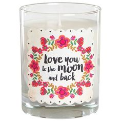 Natural Life 'Love You to the Moon and Back' Pink Candle (28 AUD) ❤ liked on Polyvore featuring home, home decor, candles & candleholders, decor, black orchid, scented soy candles, soy candles, pink candles, round candles and scented soy wax candle