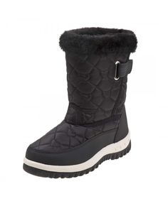 457da8d1cd Girls Fur Top Quilted Water Resistant Snow Boot (Toddler/Little Kid/Big Kid)  - Black - C518I5C6NIC