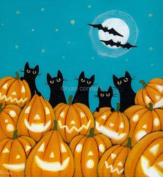 Halloween Jack o Lantern Cats Original Folk Art Painting Halloween Prints, Halloween Painting, Halloween Jack, Halloween Items, Halloween Pictures, Holidays Halloween, Vintage Halloween, Halloween Pumpkins, Paper Halloween