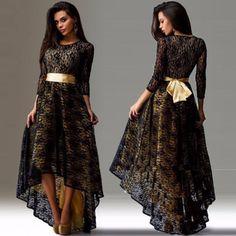 Elegant Lace Long Sleeve Plus Size Waterfall Dress
