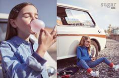"""Aroa y Nicole de Sugar Kids en la Editorial """"Morris Traveller"""" para Milk Magazine."""