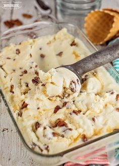 Homemade vanilla ice cream topped with Buttered Pecans is the ultimate summer dessert! You've got to try this Homemade Buttered Pecan Ice Cream Recipe.