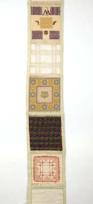 sampler by Elsie Waterer finishe in 1907 @ age 13.   It is nearly 11 ft long.