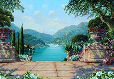Wall Murals Tuscan Scenes | Bellagio Wall Murals and Italian Scene Wallpaper Murals FREE SHIPPING